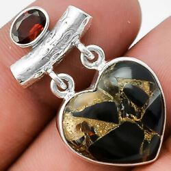 Heart - Copper Black Turquoise and Garnet 925 Silver Pendant Jewelry SDP26300