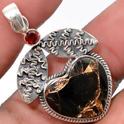 Leaf - Heart Black Turquoise and Garnet 925 Silver Pendant Jewelry SDP35855
