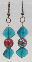 handmade painted red and turquoise glass bead earrings