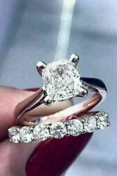 Certified 1.9 Ct Cushion Diamond Engagement Wedding Band Ring Set 14K White Gold