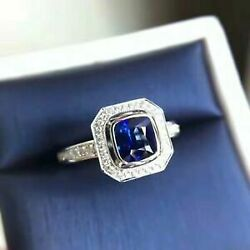 Antique 1.86 Ct Blue Cushion Diamond Engagement Wedding Ring 14K White Gold Over