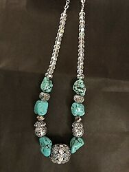 Necklace Turquoise Blue Nugget & Faceted Crystal & Aurora Borealis Beads  19