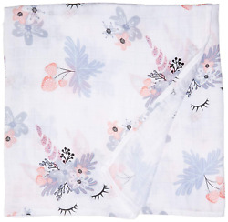 Luv and Hugs Unicorn Bliss Large Premium Knit Muslin Swaddle Blanket Baby Shower