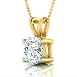 NECKLACE ROUND 3 CARATS COLORLESS SOLITAIRE PENDANT 14 KT YELLOW GOLD 4 PRONG