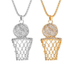 Fashion Unisex Gold Silver Plated Basketball Pendant Necklace Chain Jewelry US