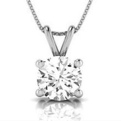 SOLITAIRE NECKLACE ROUND CERTIFIED 4 PRONGS 2 CARATS PENDANT 18K WHITE GOLD