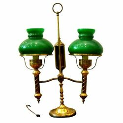 Antique Lamp Oil Brass Double Arm Student Now Electric 1800s Gorgeous $976.11