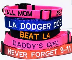 PERSONALIZED EMBROIDERED GLOW IN DARK DOG COLLARS REFLECTIVE BY AUTISTIC ARTIST $8.99