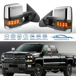 Pair Power Fold Towing Mirror for 14-18 Chevy Silverado GMC Sierra LED Light New