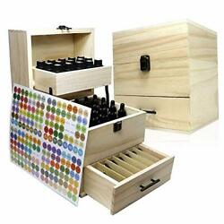 Essential Oil Wooden Box Multi-Tray Organizer 3 Tiers Storage Case Protects