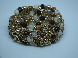 Stunning Stretch Bracelet Gold Tone Chains Brown White Marbled Beads 1 12