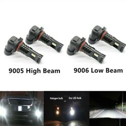 9005+9006 Combo LED Headlights Bulbs Kit High Low Beam Super Bright 6000K White