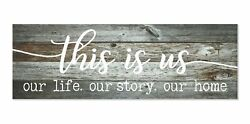 This is Us Our Life Our Story Our Home Rustic Wood Wall Sign 6x18 (Gray) Gray