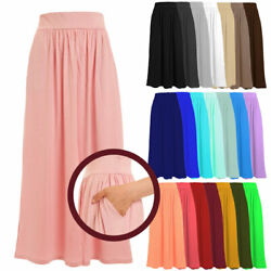 Women#x27;s Full Length Rayon Span Maxi Skirt with Pockets Size:S 5X PLUS USA 1026 $19.99
