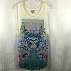 Pretty Rebellious Blue and White Women's Size: S Sleeveless Sequined Blouse $10.99