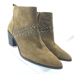 Lucky Brand Womens Brown Suede Booties Ankle Boots Beaded Size 10M40