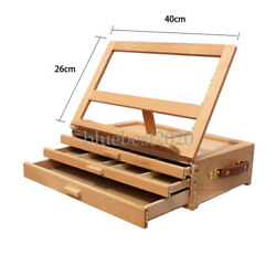 Adjustable Wooden 3-Drawer Storage Box Easel Portable Wood Artist Desktop Case