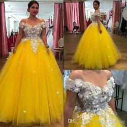 Yellow Tulle 3D Lace Ball Evening Dress Off Shoulder Quinceanera Party Prom Gown