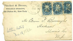 1862 NY Commercial Cover Pinchot amp; Bruen Druggists Fulton St US 63 pr amp; single 8