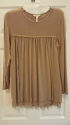 Matilda Jane Once Upon a Time Clairvoyant Tunic Top Size Small Brown