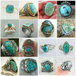 Wholesale Handmade Turquoise 925 Silver Ring Women Men Vintage Jewelry Size 5 12