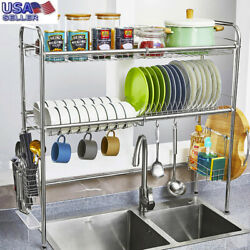 3 Tier Over The Sink Dish Drying Rack Shelf Stainless Kitchen W Cutlery Holder