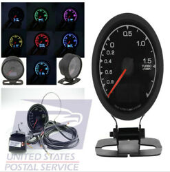2.5'' Racing Car Vehicle Turbo Boost Gauge with Voltage Meter 7colors Backlight