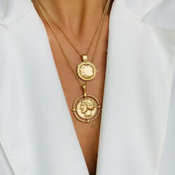 Retro Style Women Double-layer Necklace Gold Color Carved Coin Necklace Jewelry