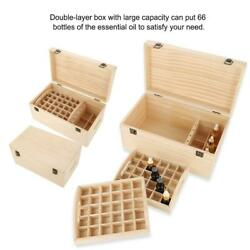 Beautiful Double-layer Wooden Large Essential Oil Storage Holder Box 66 Bottles