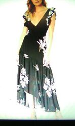 New FREE PEOPLE - She's A Waterfall black Floral Print Maxi Dress sz 0