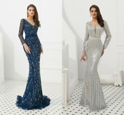 Sparkly Beaded Mermaid Pageant Prom Gown Sexy Party Celebrity Evening Dress 2020