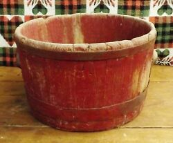 Antique Wooden Bucket - Measure with Great Old Red Paint Primitive