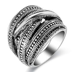Fashion MenWomen's Punk Silver Stainless Steel Ring Wide Band Jewelry Size 6-10