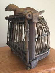Antique Vintage Primitive Folk Art Handmade Wooden Cage Trap Ferret Mink Rodent
