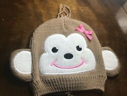 So Dorable Size 0-12M Brown Monkey Pink Bow Infant Baby Knit Hat Cap Beanie New