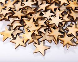 300 Qty Small 1 inch Wood Stars Craft Supply Flag Wooden Stars DIY 1