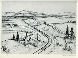 Andrew Butler MOUNT HOLLY Vermont rural train tracks 1939 vintage WPA print