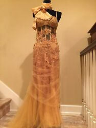 ROBERTO CAVALLI WEDDING EVENING COCKTAIL RUNWAY COUTURE GOLD BEADED GOWN DRESS