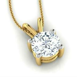 NECKLACE ROUND PENDANT WEDDING 18K YELLOW GOLD 2 CT SOLITAIRE EARTH MINED WOMENS