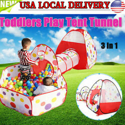 US Portable Kids Indoor Outdoor Play Tent +Crawl Tunnel Set 3 in 1 Ball Pit Tent