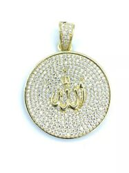 Sterling Silver 925 Yellow Gold Plated Allah Medallion Pendant Cubic Zirconia CZ