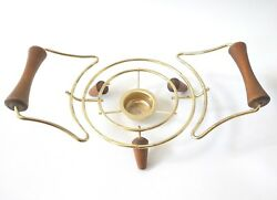 Vintage Casserole Caddy MCM Atomic Brass with Wooden Peg Legs Serving Warmer