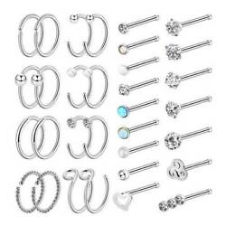 32× Stainless Steel Nose Ring Hoop Set Straight Rod Nose Ear Studs Piercing 20G $3.99