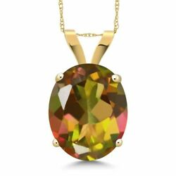 4.50 Ct Oval Mango Mystic Topaz 14K Yellow Gold Pendant With Chain