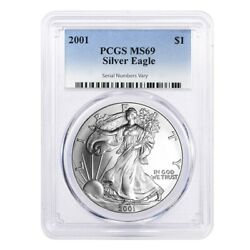 Sale Price - 2001 1 oz Silver American Eagle $1 Coin PCGS MS 69
