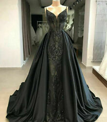 Mermaid Gothic Black Formal Dresses Evening Gown Party Prom Detachable Train $134.10