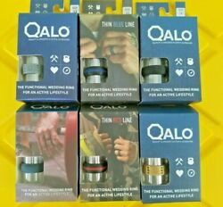 ~QALO Men's  Silicone Rings w Ring Pouch Silver Gold Black Slate RedBlue Black