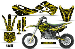 Decal Graphic Kit Wrap For Kawasaki KLX 110 2002-2009 KX 65 2002-2018 HAVOC YLLW