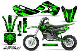 Decal Graphic Kit Wrap For Kawasaki KLX 110 2002-2009 KX 65 2002-2018 NW GREEN