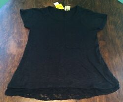 NWT Women's Black CHENAULT Pocket Knit Over Sized Blouse Size Large L $68 $11.19